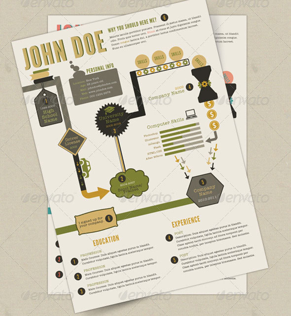 Retro Infographics Resume