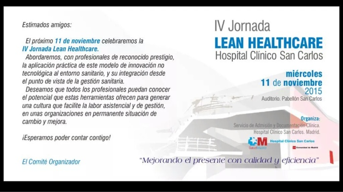 Te esperamos en la IV Jornada #Lean #Healthcare2015