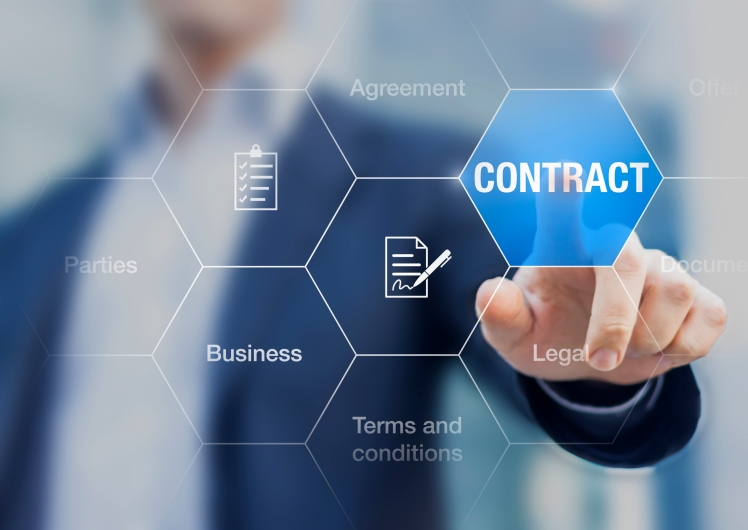 Businessman pressing contract on a screen, concept about business