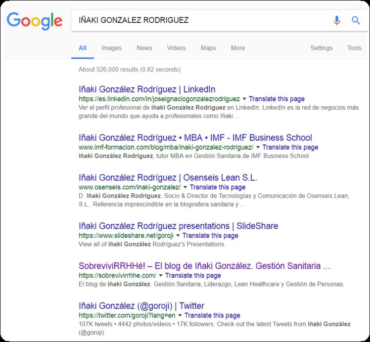 Iñaki González en Google